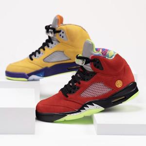 Con los hombres deportivos Box What The Jumpman 5 para hombre de los zapatos de baloncesto del equipo universitario CZ5725-700 maíz Fantasma Verde Solar Orange 5s diseño zapatillas de deporte 7-13