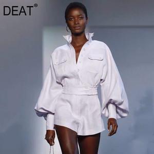 DEAT 2020 neue Art und Weise Frauen Kleidung Umlegekragen Laterne Sleeves Shirt und kurze Hosen mit hoher Taille Shorts Set WD35400L
