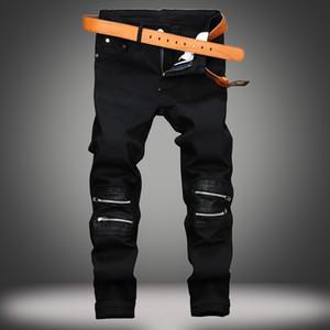 EVJSUSE diz fermuar dekorasyon gündelik kot erkek macun deri İnce düz gece kulübü siyah kot erkekler elastik kot pantolon