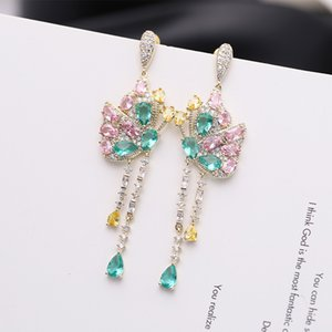 2020 Korean version of the new ultra-luxury flash butterfly tassel earrings temperament ladies evening gown bride earrings ear jewelry