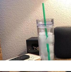 16oz tazze di plastica colorate per acqua potabile buratti acrilici chiari trasparenti doppie tazze bottiglia d'acqua con paglia per 6 stili A10