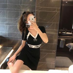 2020 new design V-neck short sleeve ice knit fashion style slimming black dress women