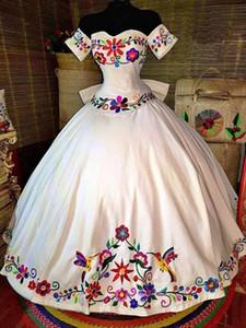 Charro Mexicano vestidos de quinceañera temático colorido bordado del hombro de raso con cordones de la bola del vestido del dulce 16 muchachas del vestido Vestidos de baile