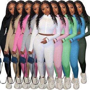 Las mujeres chándales Dos pedazos fijaron color sólido cuello alto Trajes bordaron la letra de gom señoras de Sportwear de la nueva manera de 2020