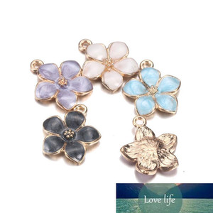 Wholesale Colorful 5 leaves Flower Enamel Charms Fashion Elegant Finding Bracelet Necklace Pendant for DIY jewelry making Gift