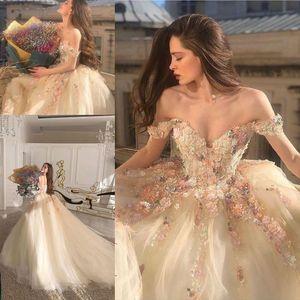 Champagne Fairy Princess abiti da sposa 2021 fiori Handmade pizzo floreale con spalle spiaggia Sposa Abiti da sposa vestidos