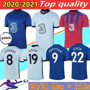 20 21 Chelsea CFC SILVA CHILWELL WERNER ZIYECH PULISIC KANTE ABRAHAM MOUNT LAMPARD camisa de futebol 2020 2021 camisa de futebol 20 21 homens + crianças kits