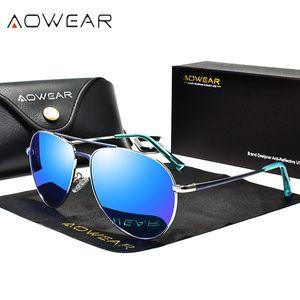 AOWEAR Marka Tasarımcı Havacılık Güneş gözlüğü Erkekler Polarize Ayna Sürüş Gözlük Pilot Güneş Gözlükleri Kadın HD Havacılık Shades Gafas