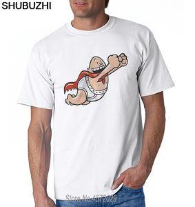 Tişört Yenilik Serin Erkek Short Sleeve Tişört Kaptan Underpants Tops - Beyaz Tişört Euro boyutu