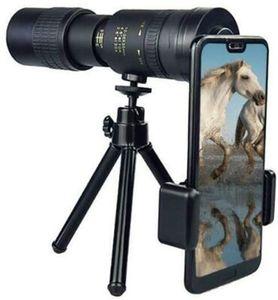 4K 10-300X40mm Super Telefoto Zoom Telescope Monocular com Smartphone Titular Tripé -por Observação de Aves / Caça / Camping / Viagens