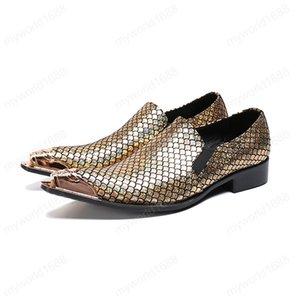 Британский стиль Человек натуральной кожи металла Остроконечные Toe обувь Пром Мужской обувь Snake Слип кожи на ночной Sequin обувь