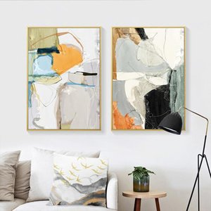 Modern Abstract Multi Colors Block Canvas Painting Wall Art Prints Posters Picture for Gallery Living Room Interior Home Decor