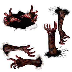 TBW9036 هالوين ملصقات رعب الأيدي الدم ملصقات لغرف النوم الطابق الديكور الذاتي لاصق ملصق