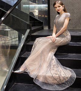 High-end cocktail party fishtail evening dress 2020 new temperament queen mid-length goldfishtail lace mermaid elegant dress