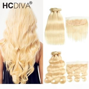 HCDIVE High Quality 613 Blonde Bundles With Frontal Closure Brazilian Virgin Human Hair Straight Body Wave Bundle With Transparent Lace
