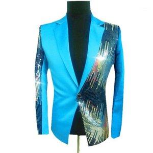 Breasted Mens Designer Night Club Blazers Moda Mens Sequins Painéis Brasão Casual dos homens do vestuário com Single