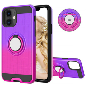 Gradient Matte Case for iPhone 11 Pro Max XS XR MAX 7 8 PLUS Shockproof Back Cover Magnetic Holder 360 Rotating Ring Stand