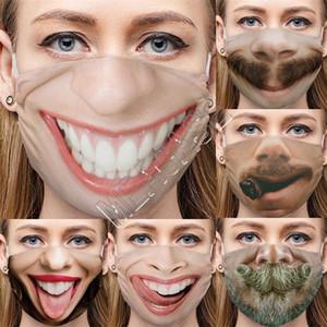 Lustige 3D Expression Fashion Gesichtsmasken Designer Cartoon-Muster Creative Print Cotton Masken Anti-Staub Waschbar Wiederverwendbare Cycling Mask D81210