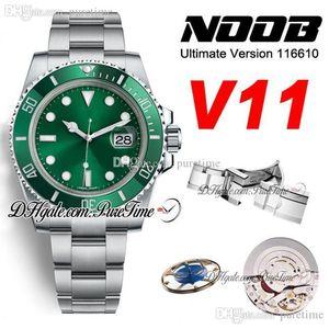 N V11 SA3135 Otomatik Hulk Erkek İzle Yeşil Seramik Bezel Yeşil 904L Çelik Oyster Bilezik En Final Sürüm Yeni Paket Puretime 01 Dial