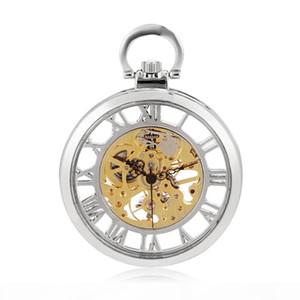 Skeleton Men Silver Mechanical Hand Winding Cool Military Roman Number Pocket Watch Women Watch Round Antique Steampunk Watch