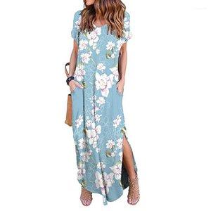 Kleidung Sommer Womens Designer Casual Dresses Flora Gedruckt Lose Kurzarm Weibliche Lange Kleider Lässige Frau