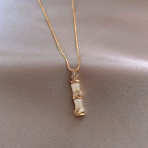 Bamboo Pendant Necklace Personality Pendant White Pillar Gold for Women Necklaces Pendants