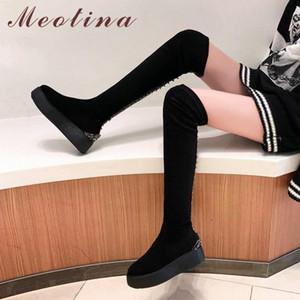 Meotina Kış Uyluk Yüksek Boots Kadınlar Kid Süet Düz Platformu Üzeri Diz Boots Perçinler Yuvarlak Burun Ayakkabı Kadın Siyah Boyut 34-39