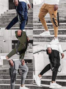Multi Pockets lápis fita Calças magro dos homens Sólidos Pants Cor retalhos Esportes Streetwear Hip Hop dos homens calça casual