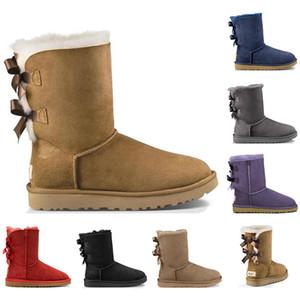 Com meias botas de qualidade superior Austrália mulheres menina clássicas botas de neve bowtie inicialização pele arco curto tornozelo para o inverno café preto