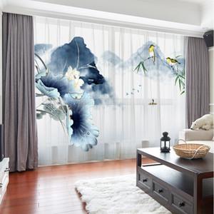 Berge Blumen-Landschaft im chinesischen Stil 3D Customized Vorhänge Drape-Panel Transparenter Tüll Hauptdekoration Wohnzimmer Schlafzimmer