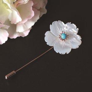 S925 silber Blumenbrosche Shell Mode einfachen Brosche Frauen Turquoise Shell Blume ein Zeichen Stift personalisierte Kirschblüte Kragen pin