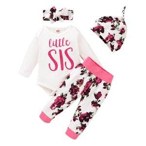 Bambino floreali Outfits infantile delle ragazze del fumetto lettera stampata Top Pantaloni bambino pagliaccetto del bambino fiore dei capretti a righe con fascia Cappelli 4 Pz Suit 060.807