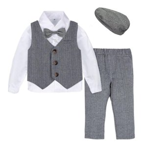 Baby Formal Suit Infant Blazer Toddler Gentleman Tuxedo Outfit Wedding Birthday Gift Winter Long Sleeve Clothes Set 4PCS T200820