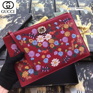 qianqianli1 LLDC Flower embroidered clutch 499310 red WOMEN REAL LEATHER LONG WALLET CHAIN WALLETS COMPACT PURSE CLUTCHES EVENING KEY CARD