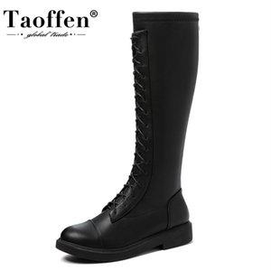 TAOFFEN Taille 33-44 Femmes Cuissardes talon plat femme Zipper long Bottes Chaussures d'hiver Casual Daily femme Chaussures