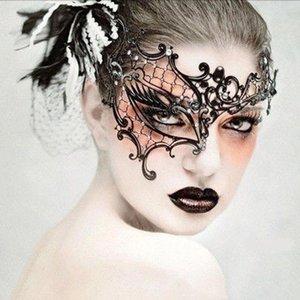 Máscaras Máscaras de la mascarada del cordón atractivo exquisito del recorte de ojos partido de lujo blindajes Negro FOOMR home003