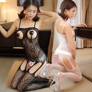 Lunga notte Calze Strap seta spalla lungo cassa tracolla aperta buco un pezzo sexy maglia indumenti stretti aperta fionda a rete stockin