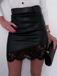 Summer 2020 Mini Skirts Women Lace A Line Skirt Ladies High Waist Black Leather Skirts Casual Party Skirt Streetwear New Sj5104v