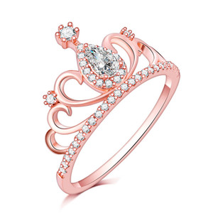 New Arrival Fashion Style Gorgeous Crown rose gold filled Engagement Rings For Women full CZ zircon Anel Feminino