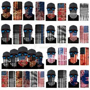 Amerika Flagge Druck Stirnband Bandanas Schutzmaske Halstuch Magie Radfahren Bandana Headwear Headscarf Party Masken Liefert RRA3480