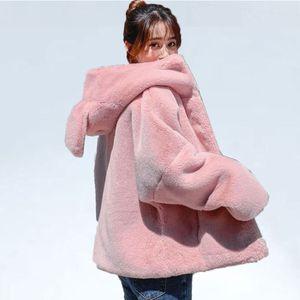 Winter Fur Coat Women Ears Thickening Hooded Cotton Coat Faux Fur Female Short jacket Loose students