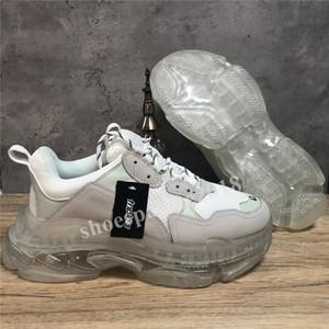 Скидка Париж Повседневная обувь Тройной Clear Подошва Тренеры папа обуви Sneaker Черный Крупногабаритные женщин людей Comfort Runners Chaussures