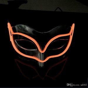 EL Light Luminous Fox Masks For Halloween Ghost Half Face Wire Mask Palstic For Masquerade Decor Cosplay Party 18yh B