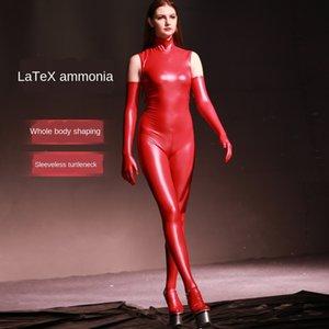 Sexy amônia látex calças sem mangas privada gola apertadas LaTeX calças apertadas terno desempenho passarela de uma peça collants GQ07 4ZKc8