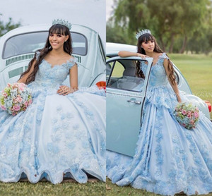 Charming sky Blue Quinceanera Dresses 2020 Ball Gown Prom DressO Neck Illusion Flower Beading Sweet 15 16 Pageant Vestidos De 15