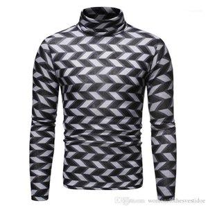 Camiseta para hombre de la moda suéter Tops de lujo para hombre de la tela escocesa de t delgado ocasional de Hiphop de manga larga