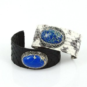 luxury design black grey leather oval royal blue imperial stone pave rhinestone charm adjustable open cuff bangles for women