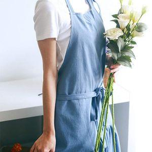AFBC Retro Long Vintage Apron Adjustable Fishtail Style Gardening Work Cotton Linen Blend Fashion Tie Apron Women'S Dress Girl (