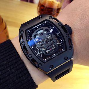 RM Mecânica relógio à prova d'água oca e Lasha tecnologia totalmente automática núcleo máquina importada Mens Watch Rubber Esporte Relógios bitime