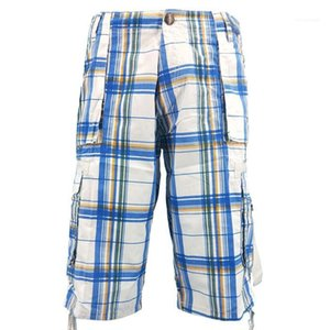Mens Summer Plaid Printed Pants Designer Knee Length Beach Clothes Packet Button Shorts Males Fashion Loose Casual Clothing